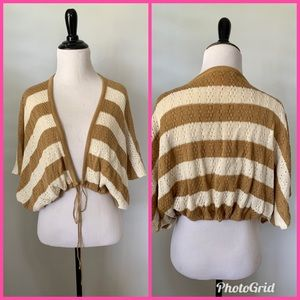 Betsey Johnson Striped Cardigan Bolero Sweater
